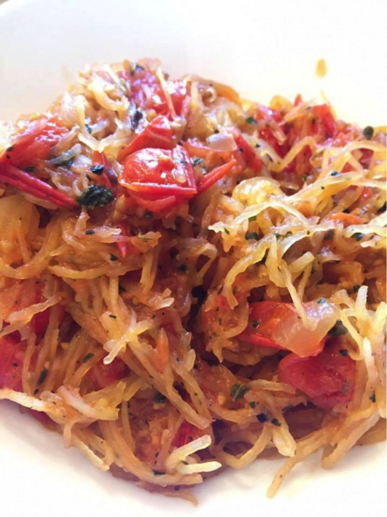 """My wife Kirin made THE best spaghetti squash recipe ever – uses all ingredients from the """"unlimited"""" food list from the Adrenal Reset Diet."""